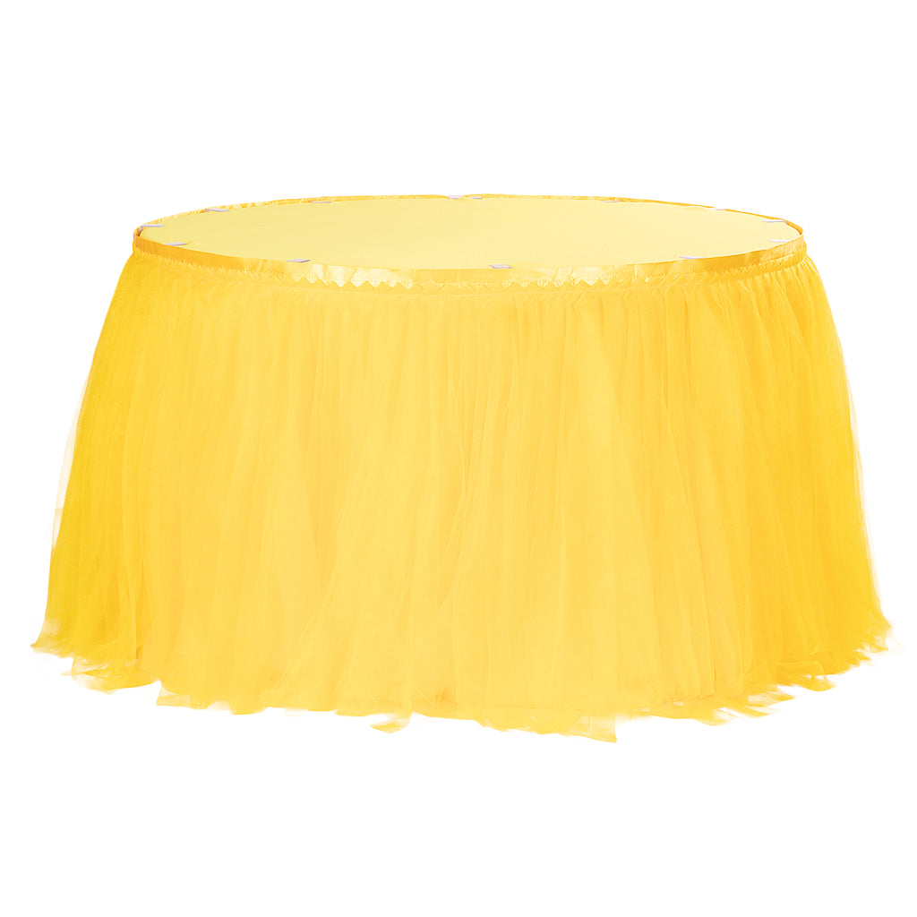 Tulle Tutu 14ft Table Skirt - Canary Yellow