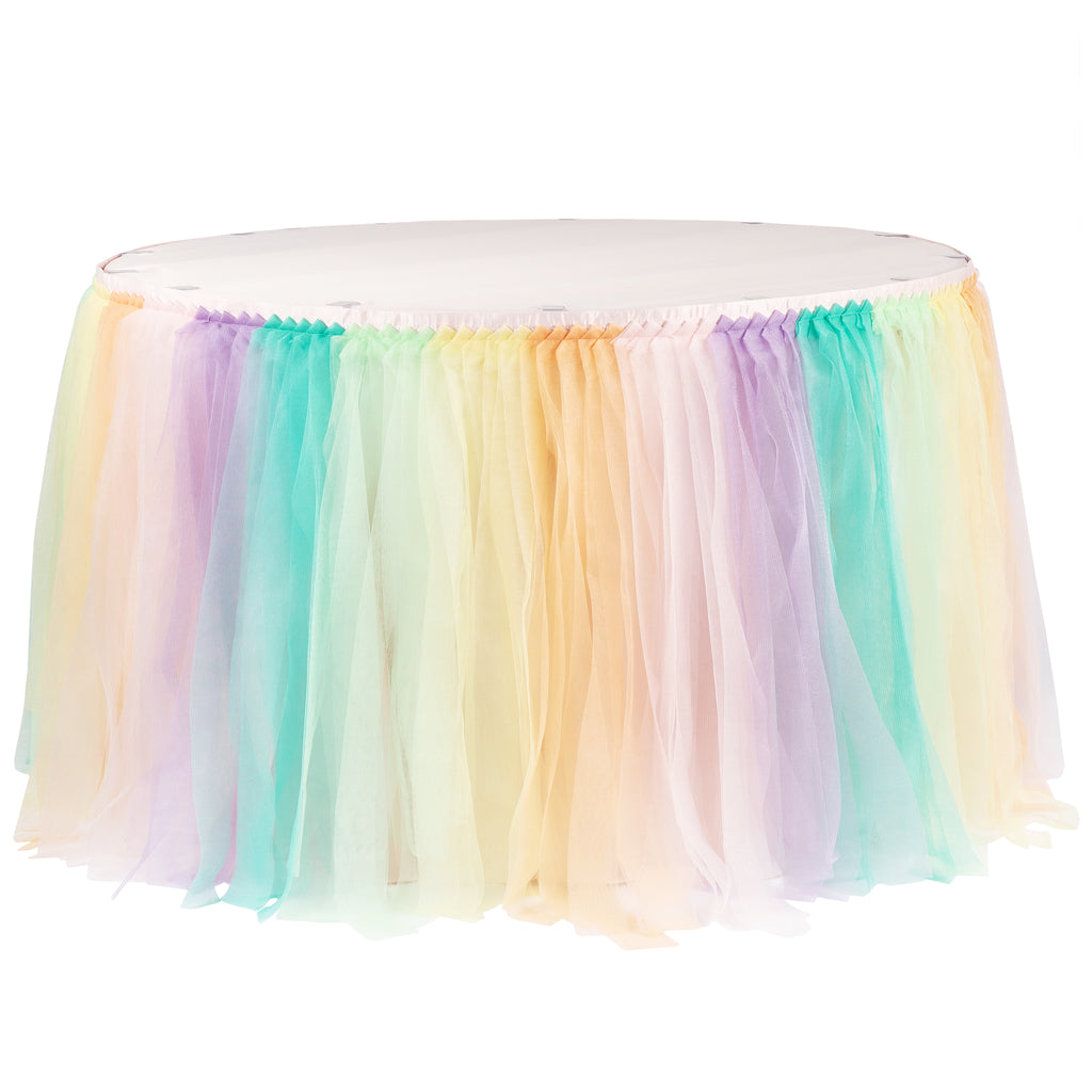 Tulle Tutu 17ft Table Skirt - Pastel Rainbow