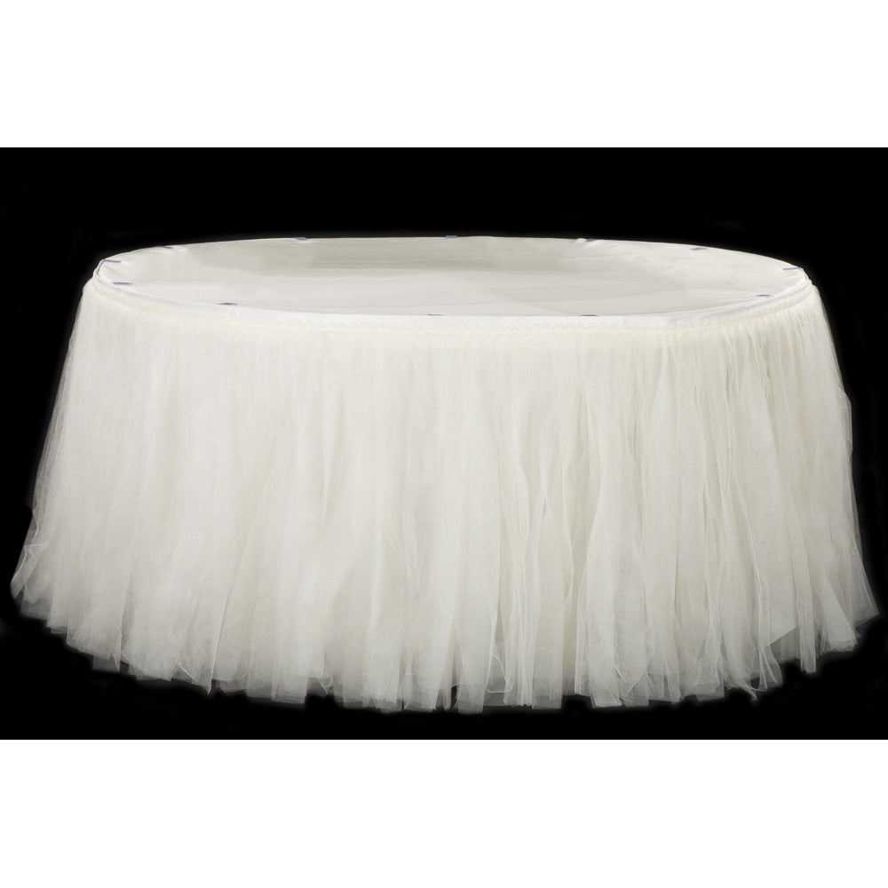Tulle Tutu 21ft Table Skirt - Ivory