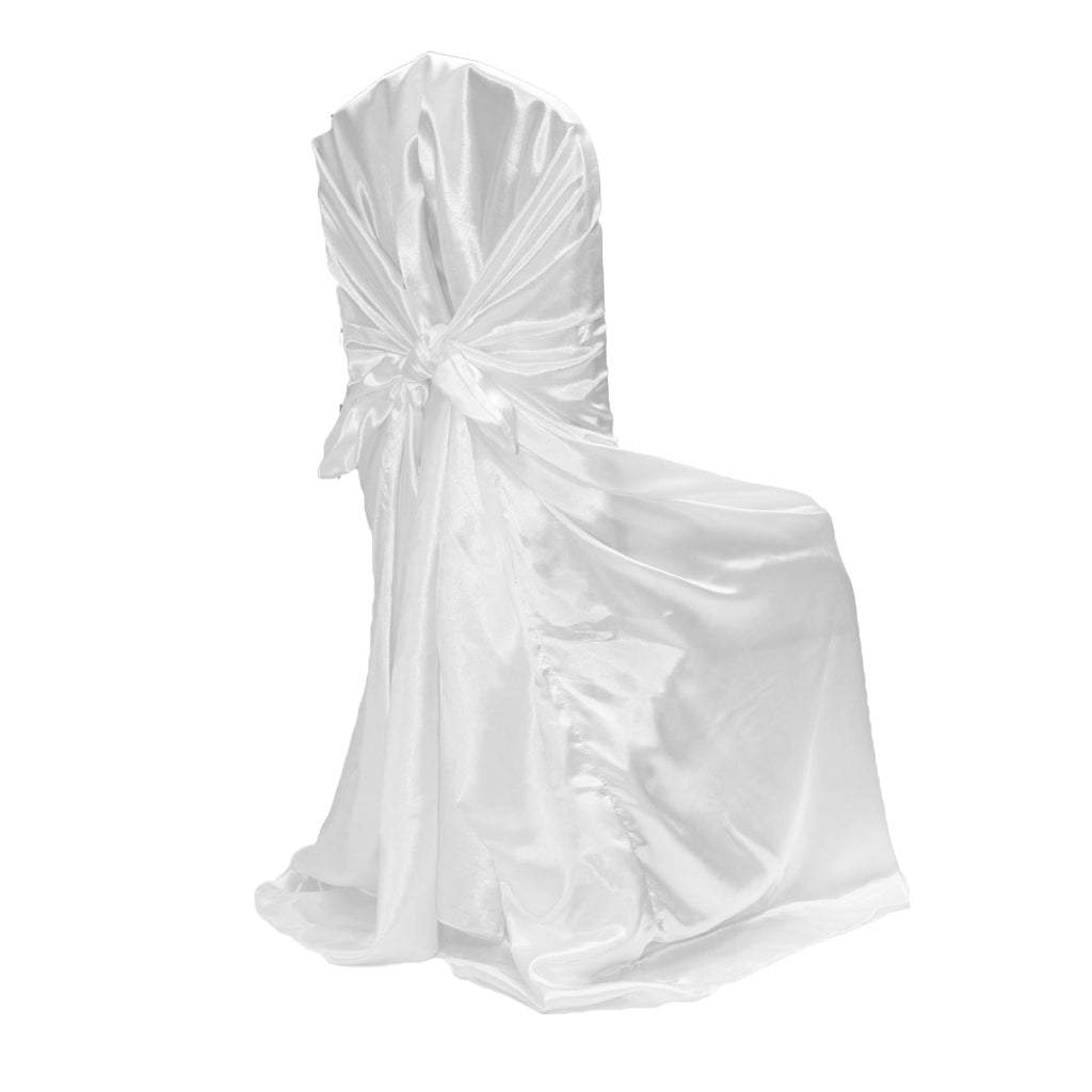 Universal Satin Self Tie Chair Cover - White