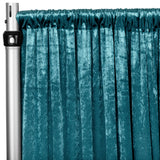 "Velvet 10ft H x 52"" W Drape/Backdrop Curtain Panel - Dark Turquoise"