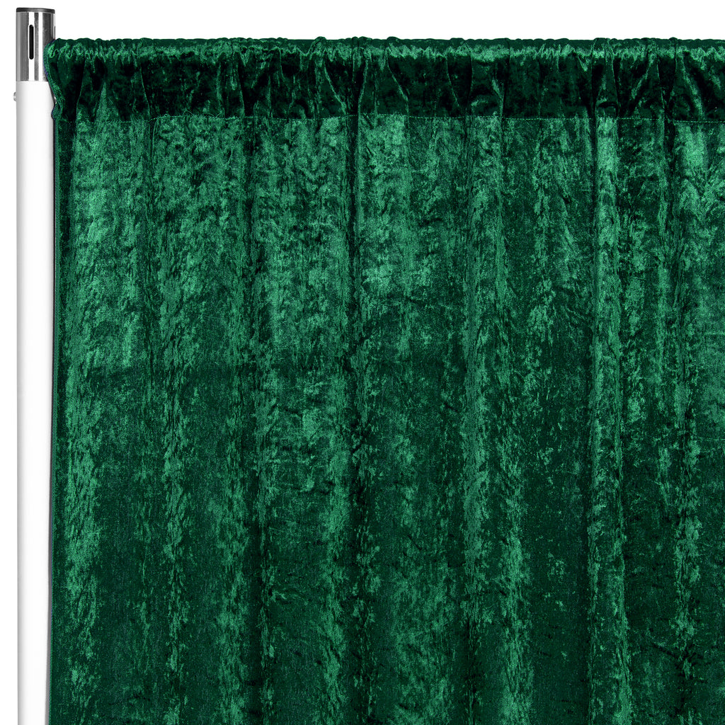 "Velvet 10ft H x 52"" W Drape/Backdrop Curtain Panel - Emerald Green"
