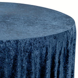 "Velvet 120"" Round Tablecloth - Navy Blue"
