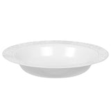 "Venetian Plastic Disposable Soup Bowls 7.5"" (10/pk) - White Silver-Trimmed"