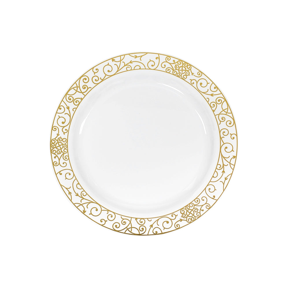 """10/"""" White Round Plates Royal Blue Gold Trim Party Wedding Disposable Tableware"""