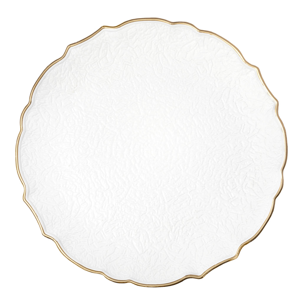 Victorian Embossed Acrylic Charger Plate White Gold Trim Cv Linens