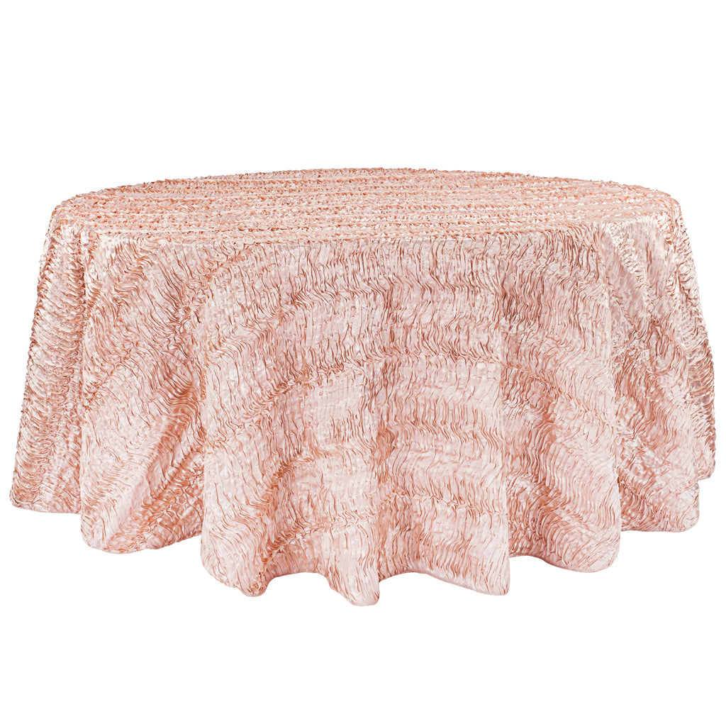 "Wave Satin 120"" Round Tablecloth - Blush/Rose Gold"