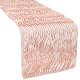 Wave Satin Table Runner - Blush/Rose Gold