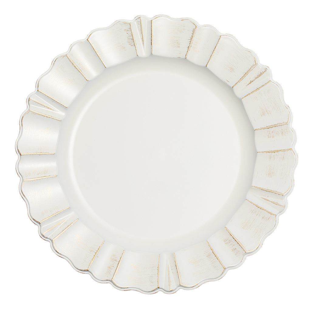 "Waved Scalloped Acrylic 13"" Charger Plate - Gold & Ivory"
