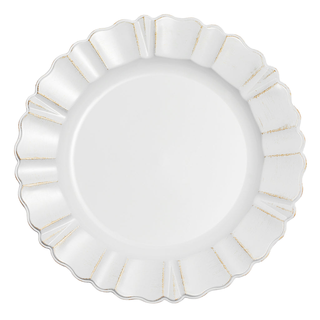 "Waved Scalloped Acrylic 13"" Charger Plate - Gold & White"