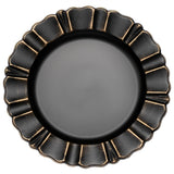 "Waved Scalloped Acrylic 13"" Charger Plate - Black & Gold"