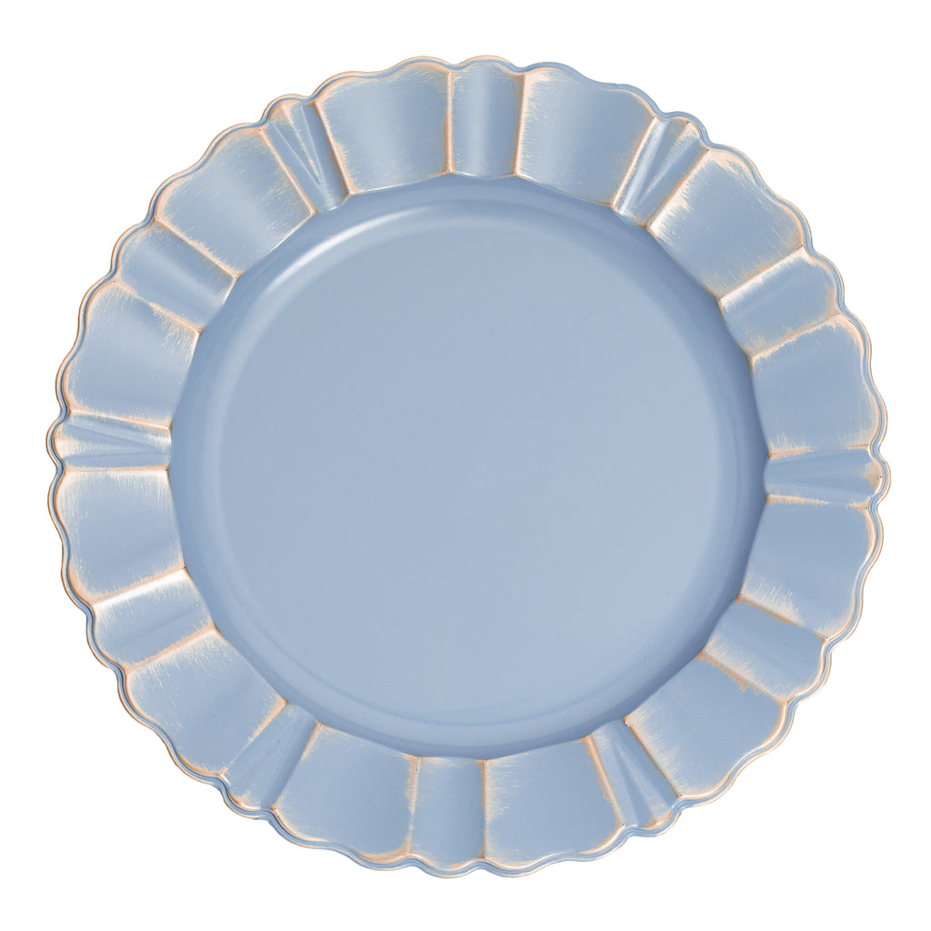 "Waved Scalloped Acrylic 13"" Charger Plate - Dusty Blue & Gold"