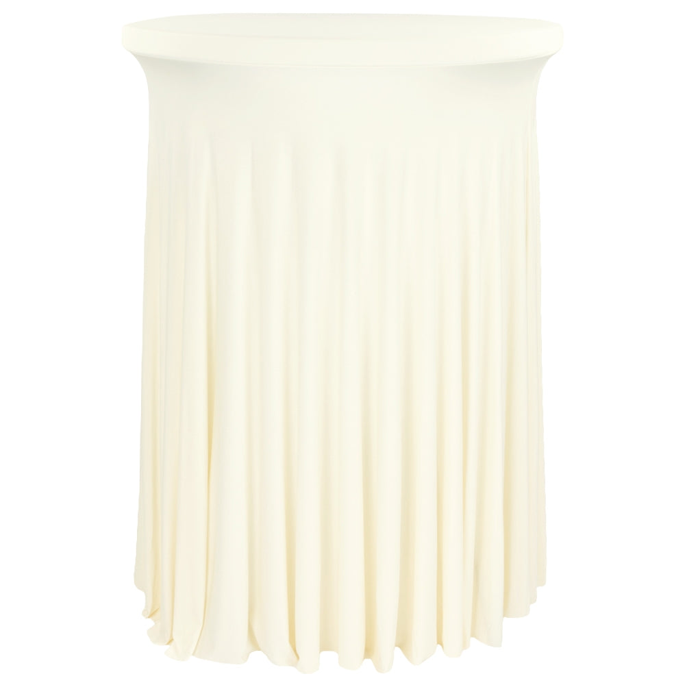 "Wavy Spandex Cocktail Table Cover 30""-32"" Round - Ivory"