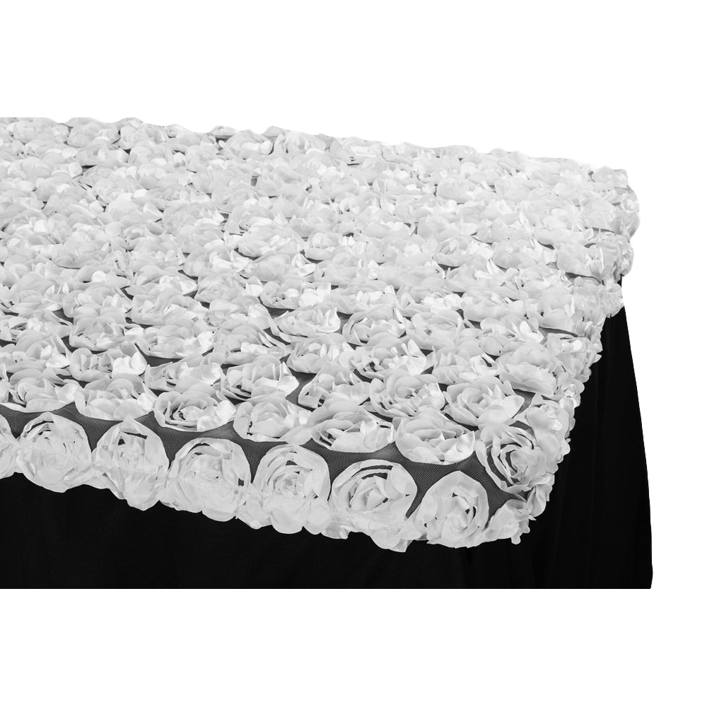 Rosette on Mesh Table Topper/Cap 6 FT Rectangular - White