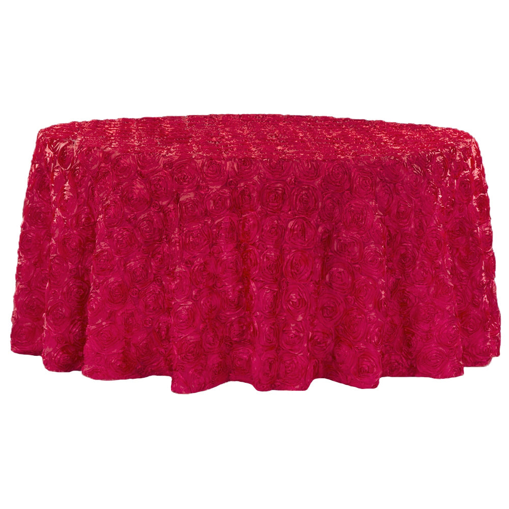 "Wedding Rosette SATIN 120"" Round Tablecloth - Apple Red"