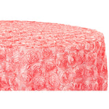 "Wedding Rosette SATIN 132"" Round Tablecloth - Coral"