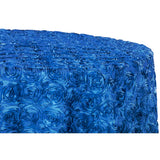 "Wedding Rosette SATIN 120"" Round Tablecloth - Royal Blue"