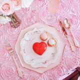 "Wedding Rosette Satin 90""x132"" rectangular Tablecloth - Medium Pink"