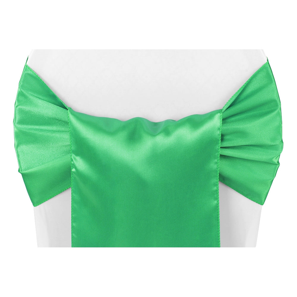 Wide Satin Chair Sash - Kelly Green