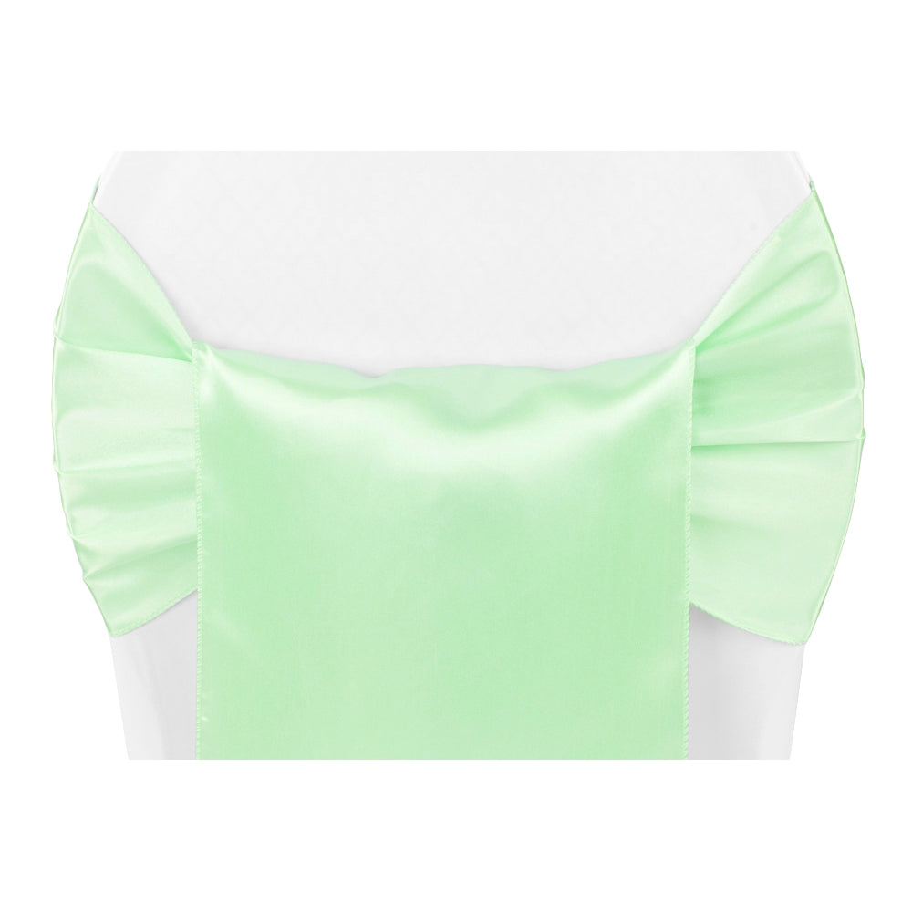 Wide Satin Chair Sash - Mint Green