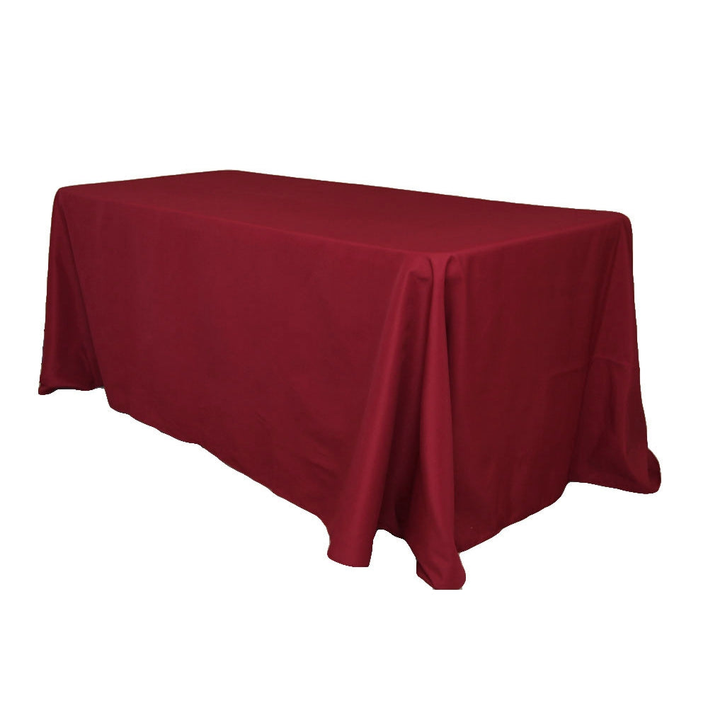 "90""x132"" Rectangular Oblong Polyester Tablecloth - Burgundy"