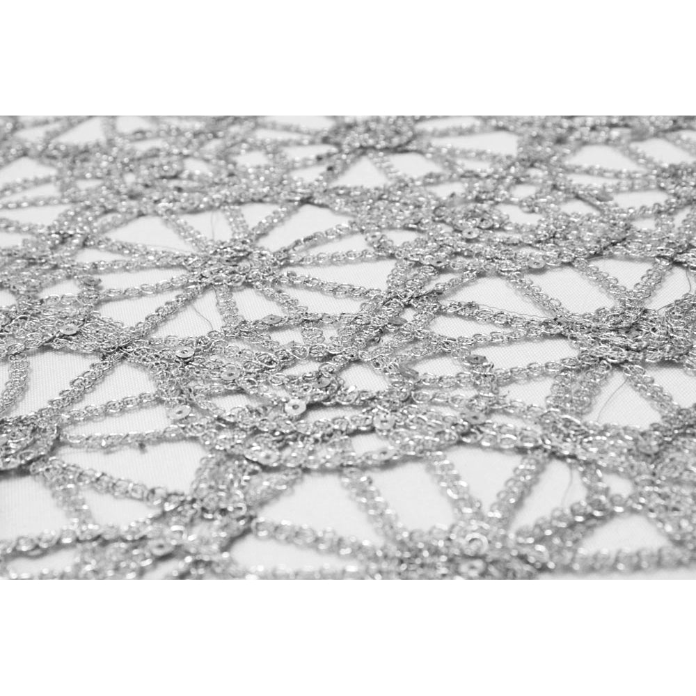 10 yards Chemical Chain Lace Fabric Bolt - Silver
