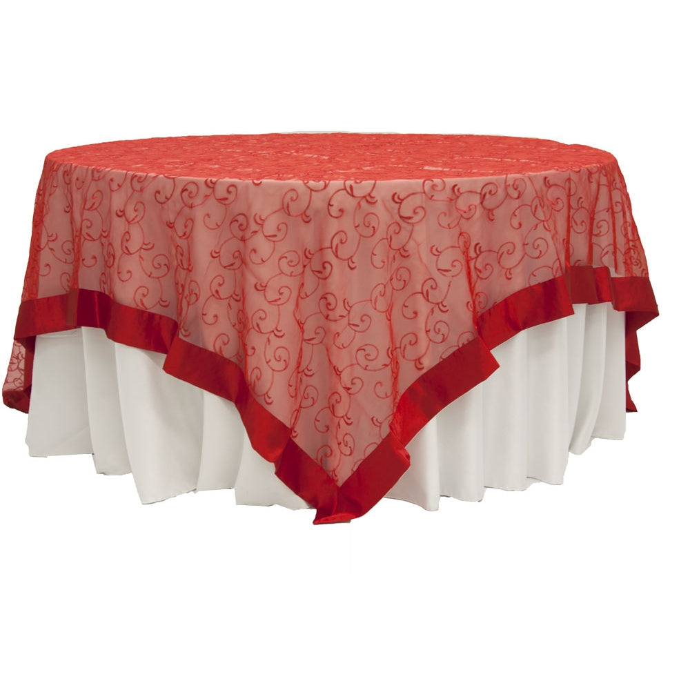 "Embroidery Swirl Overlay 90""x90"" Square Table Topper - Red"