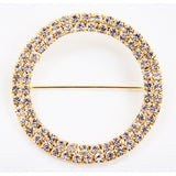 Round Diamond Rhinestone Metal Pin Sash Buckle - Gold