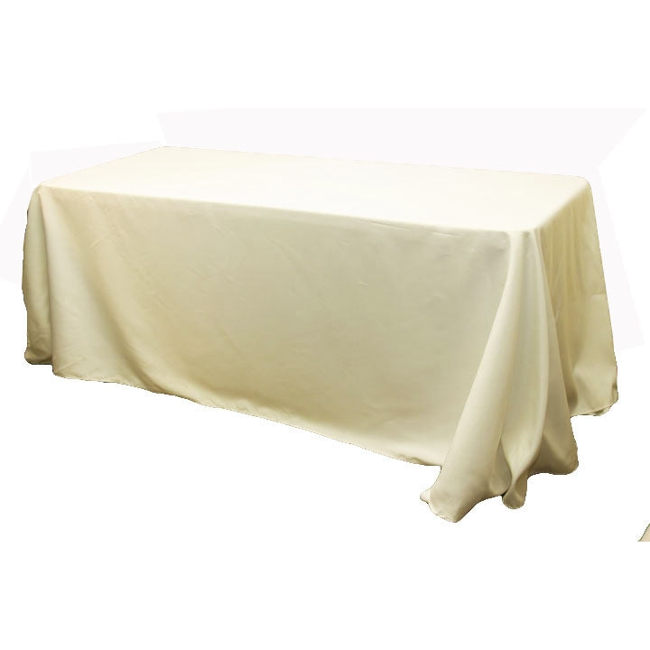 "90""x132"" Rectangular Oblong Polyester Tablecloth - Ivory"