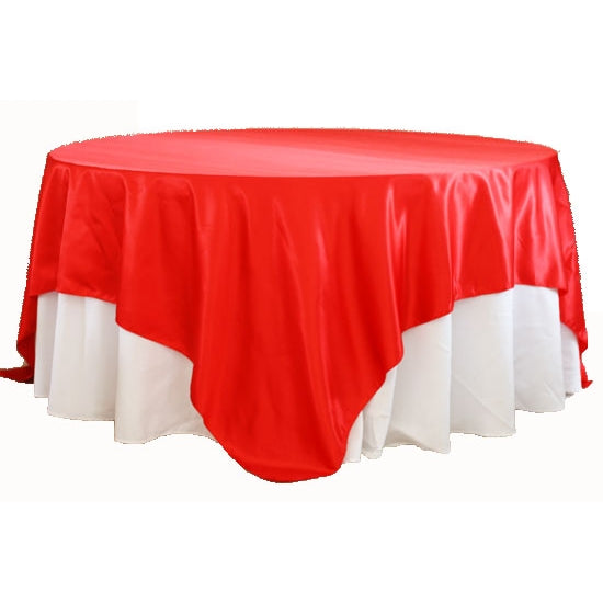 "Square 90""x90"" Satin Table Overlay - Red"