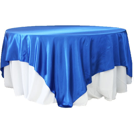 "Square 90""x90"" Satin Table Overlay - Royal Blue"