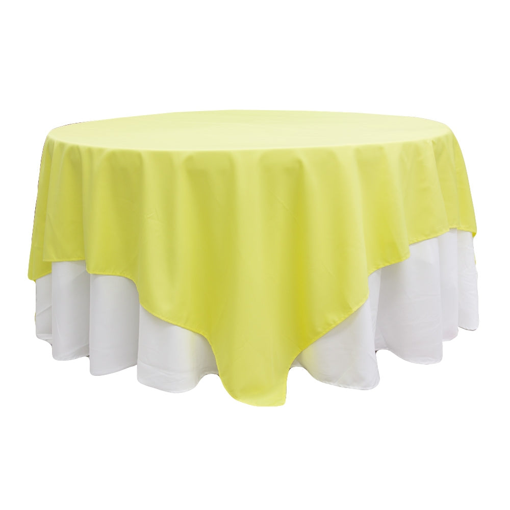 "Polyester Square 90""x90"" Overlay/Tablecloth - Yellow"