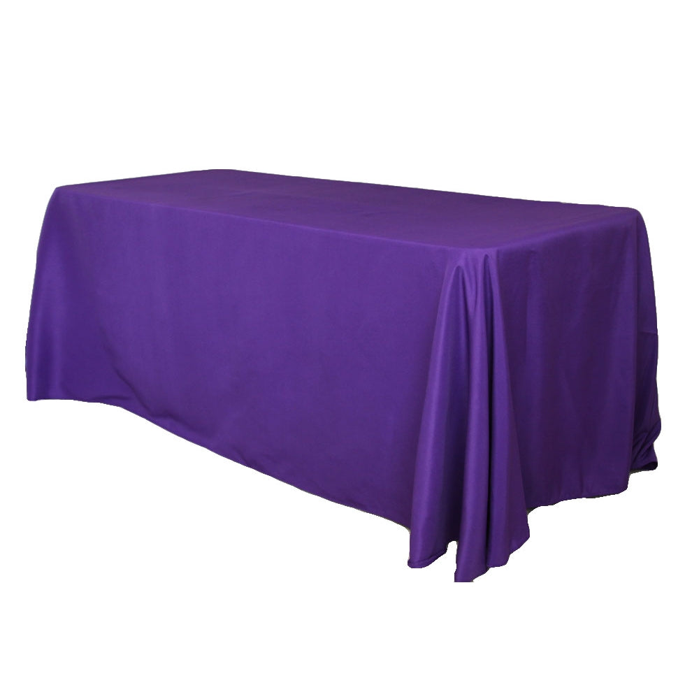 "90""x132"" Rectangular Oblong Polyester Tablecloth - Purple"