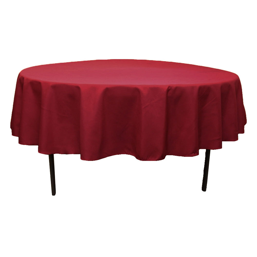 "Polyester 90"" Round Tablecloth - Burgundy"