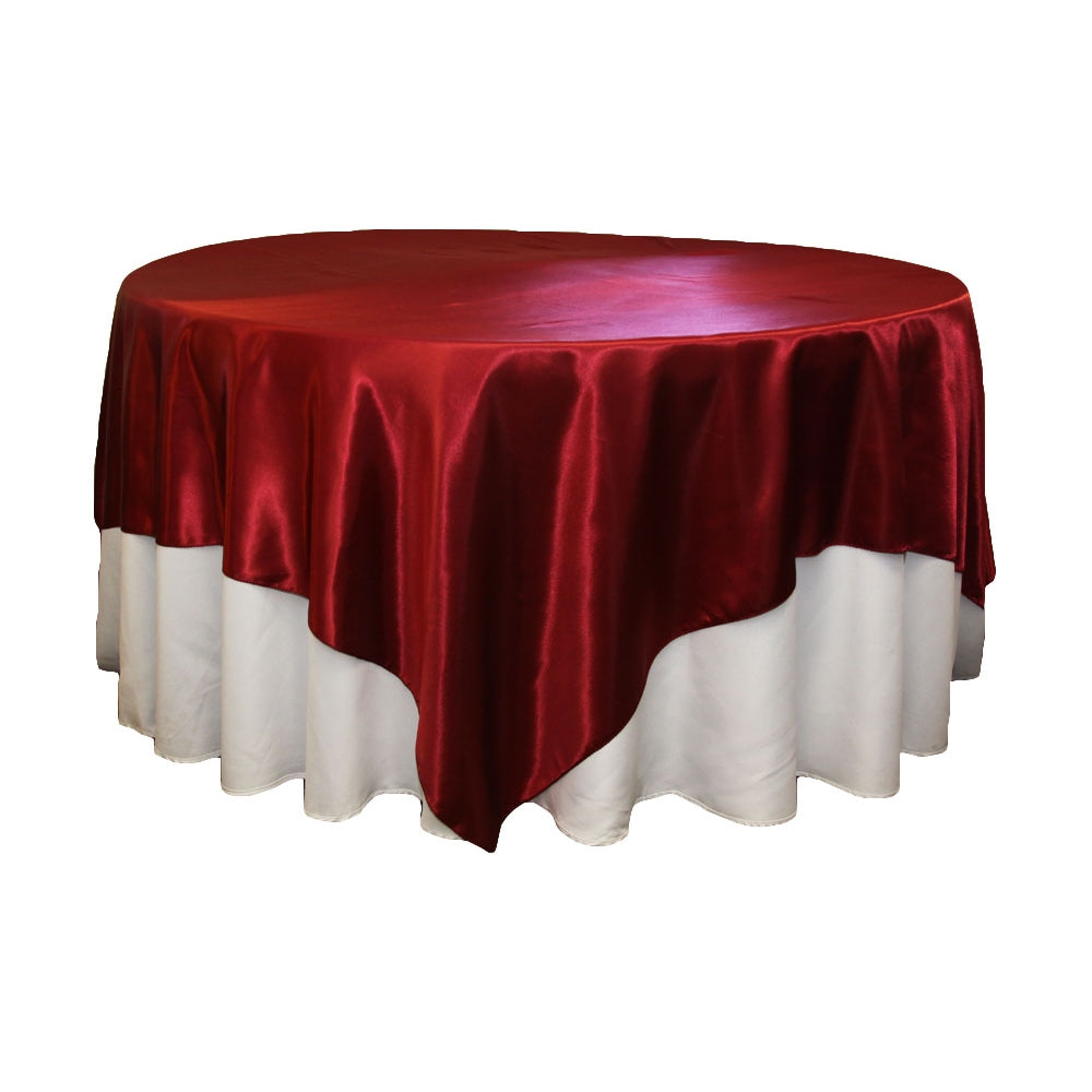"Square 90""x90"" Satin Table Overlay - Apple Red"