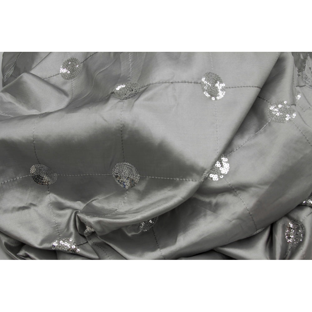 "Sequin 90""x156"" Embroidery Taffeta Tablecloth - Silver"