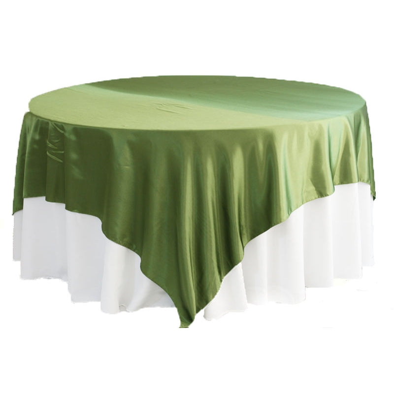 "Square 90""x90"" Satin Table Overlay - Willow Green"