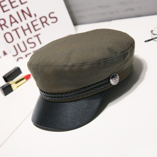 Fashion Women Men Military Hat Spring Autumn Sailor Hats Black Ladies Beret Caps Flat Top Captain Cap Travel Cadet Octagonal Hat - Statement Outfit