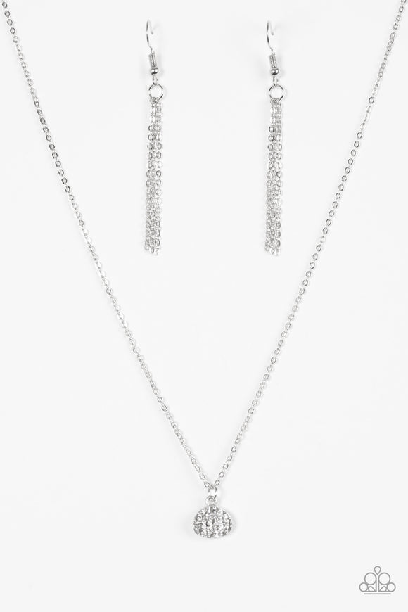 Diamond Debonair - White Paparazzi Necklace - Carolina Bling Boss