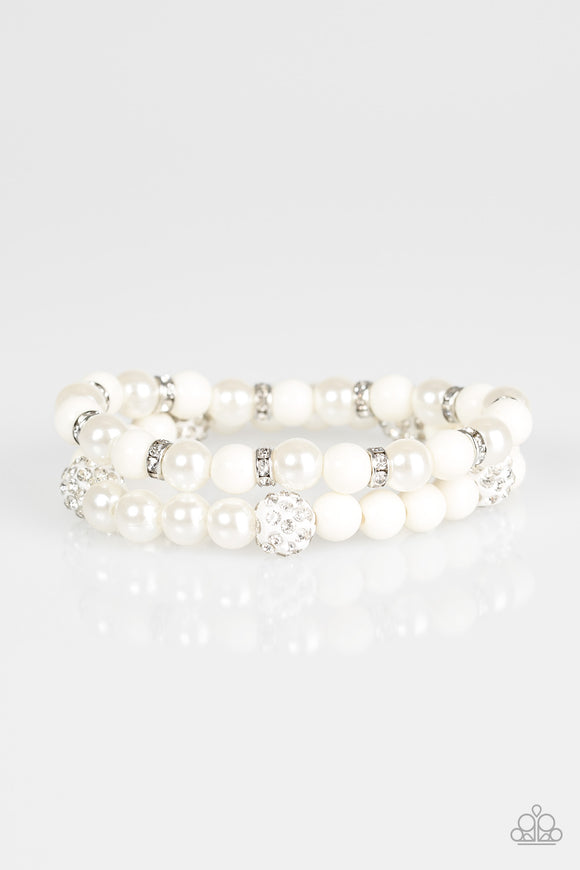 Teasingly Tinseltown - White Paparazzi Bracelet - Carolina Bling Boss