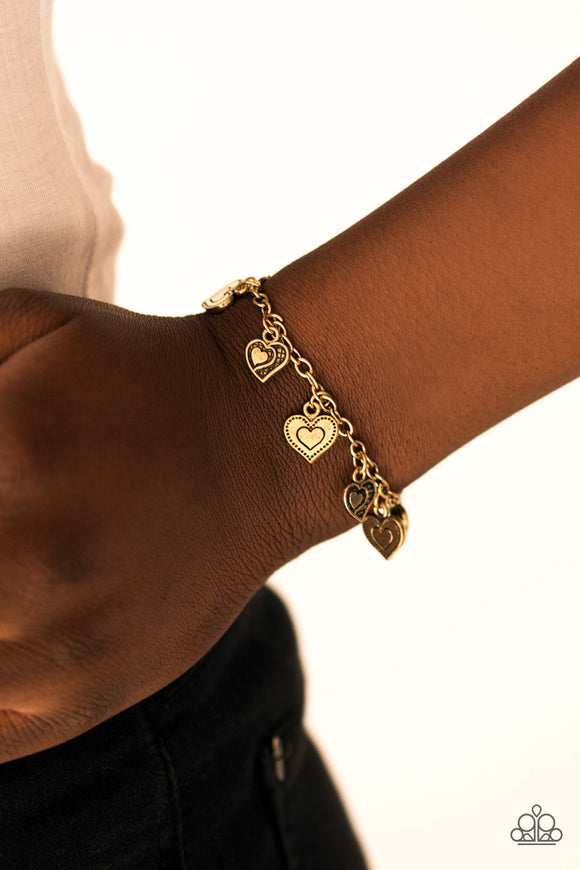A HEART Act To Follow - Brass Paparazzi Bracelet - Carolina Bling Boss