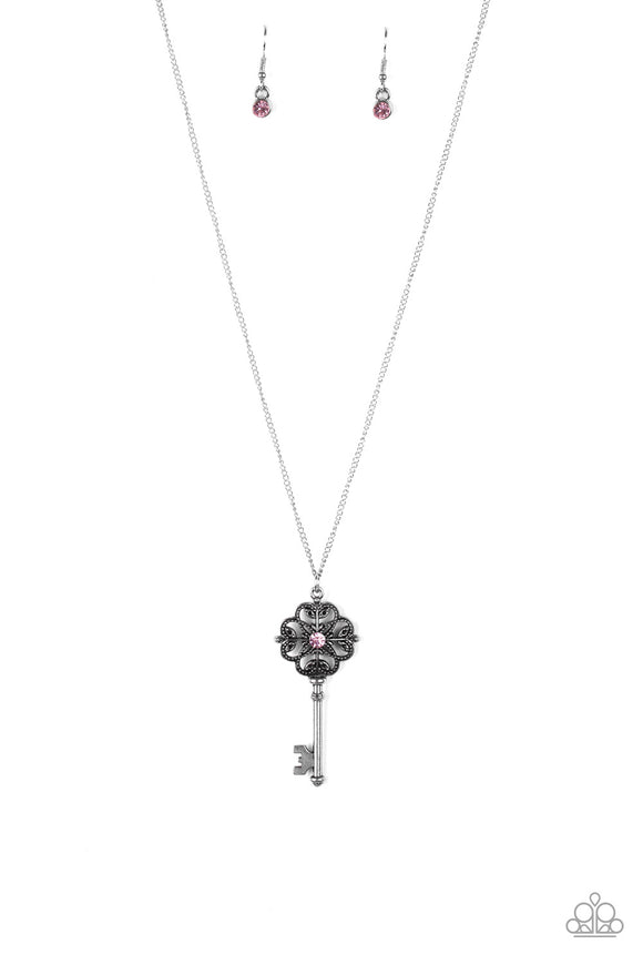 Got It On Lock - Pink Paparazzi Necklace - Carolina Bling Boss