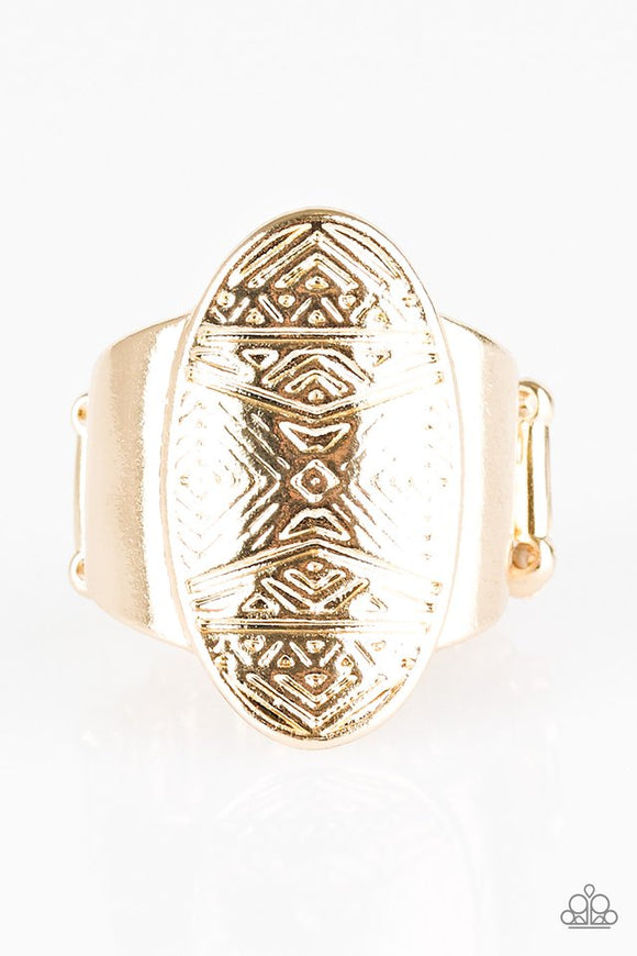 Tiki Tahiti - Gold Paparazzi Ring - Carolina Bling Boss