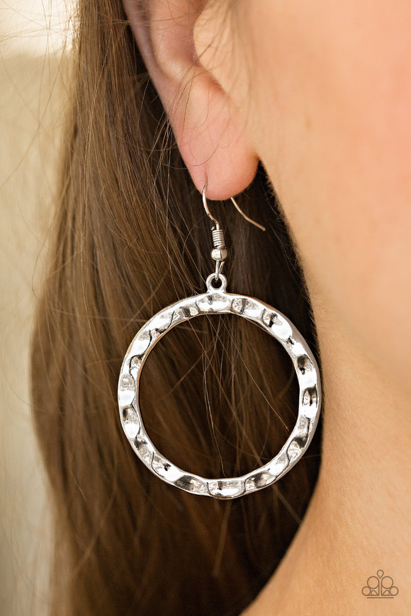 Hammer Time - Silver Paparazzi Earrings - Carolina Bling Boss