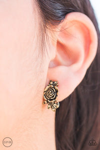 Rose Garden Radiance - Brass Clip On Paparazzi Earrings - Carolina Bling Boss