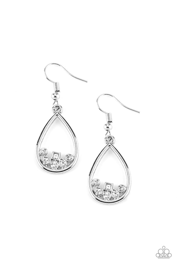 Raindrop Radiance - White Paparazzi Earrings - Carolina Bling Boss