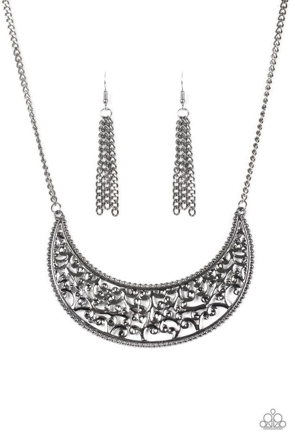 Moroccan Moon - Black Paparazzi Necklace - Carolina Bling Boss