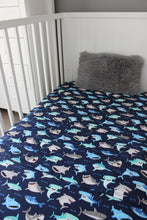 Load image into Gallery viewer, OCEAN COT SPILL PILLOW & FITTED SHEET / COTTON