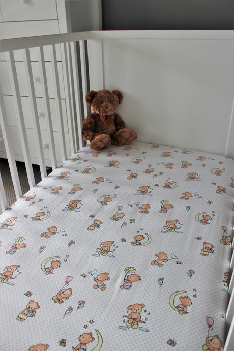 TEDDY COT SPILL PILLOW & FITTED SHEET / FLANNELETTE