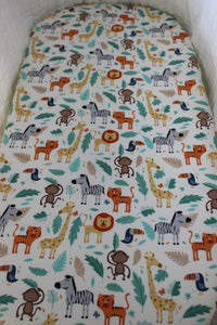 JUNGLE BASSINET SPILL PILLOW AND FITTED SHEET / COTTON